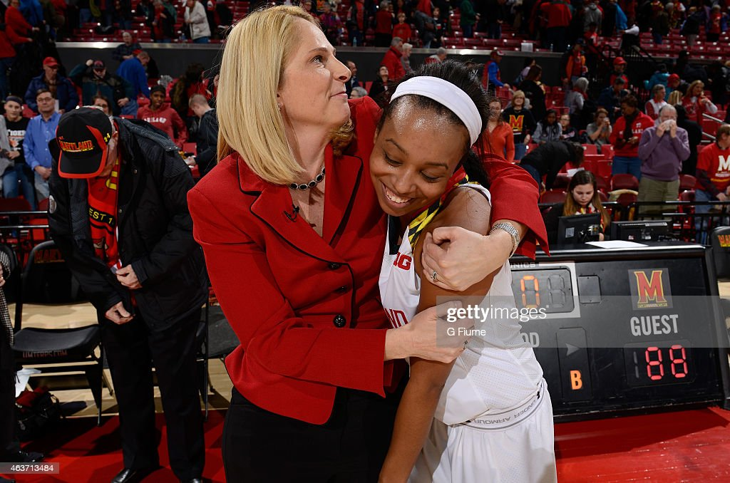 Head coach <a gi-track='captionPersonalityLinkClicked' href=/galleries/search?phrase=Brenda+Frese&family=editorial&specificpeople=700545 ng-click='$event.stopPropagation()'>Brenda Frese</a> of the Maryland Terrapins celebrates with <a gi-track='captionPersonalityLinkClicked' href=/galleries/search?phrase=Lexie+Brown&family=editorial&specificpeople=10784811 ng-click='$event.stopPropagation()'>Lexie Brown</a> #4 after a victory against the Iowa Hawkeyes at the Xfinity Center on February 1, 2015 in College Park, Maryland.