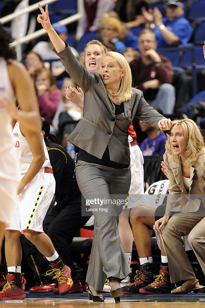 Head Coach Brenda Frese of the Maryland Terrapins directs her team against the North Carolina Tar Heels during the semifinals of the 2013 Women's ACC Tournament at the Greensboro Coliseum on March 9, 2013 in Greensboro, North Carolina.
