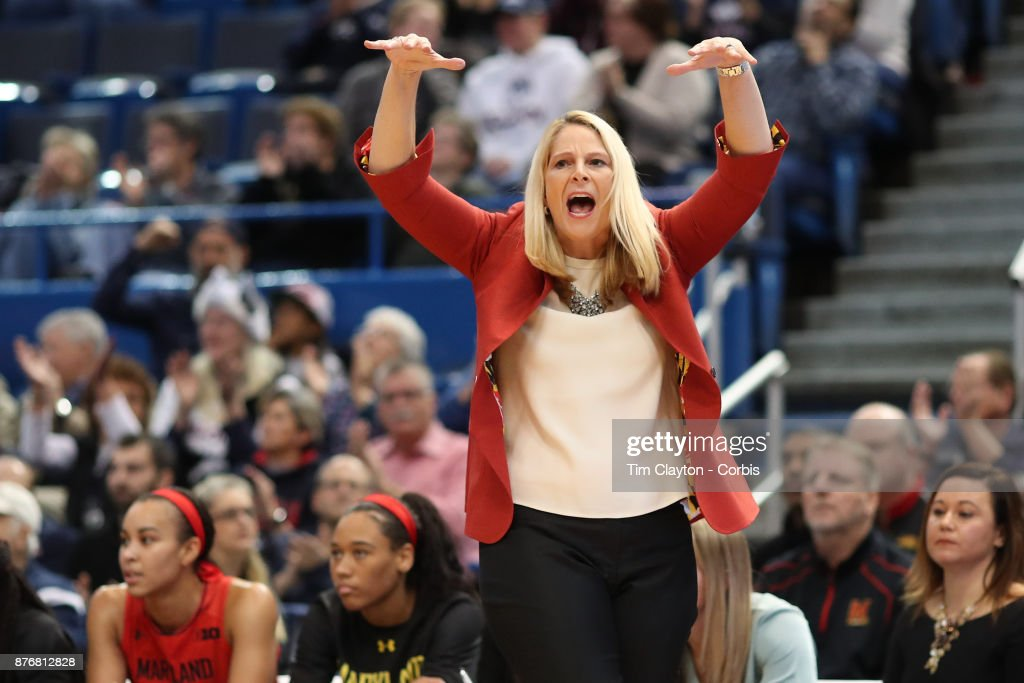 Head coach Brenda Frese of the Maryland Terrapins during the the UConn Huskies Vs Maryland Terrapins, NCAA Women's Basketball game at the XL Center, Hartford, Connecticut. November 19th, 2017