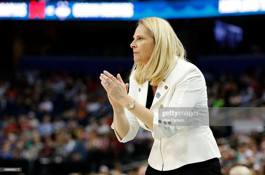 Head coach <a gi-track='captionPersonalityLinkClicked' href=/galleries/search?phrase=Brenda+Frese&family=editorial&specificpeople=700545 ng-click='$event.stopPropagation()'>Brenda Frese</a> of the Maryland Terrapins reacts in the first half against the Connecticut Huskies during the NCAA Women's Final Four Semifinal at Amalie Arena on April 5, 2015 in Tampa, Florida.