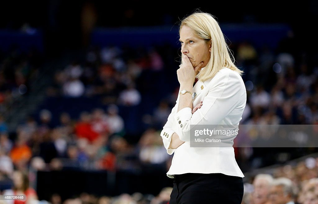 Head coach <a gi-track='captionPersonalityLinkClicked' href=/galleries/search?phrase=Brenda+Frese&family=editorial&specificpeople=700545 ng-click='$event.stopPropagation()'>Brenda Frese</a> of the Maryland Terrapins reacts in the second half against the Connecticut Huskies during the NCAA Women's Final Four Semifinal at Amalie Arena on April 5, 2015 in Tampa, Florida.