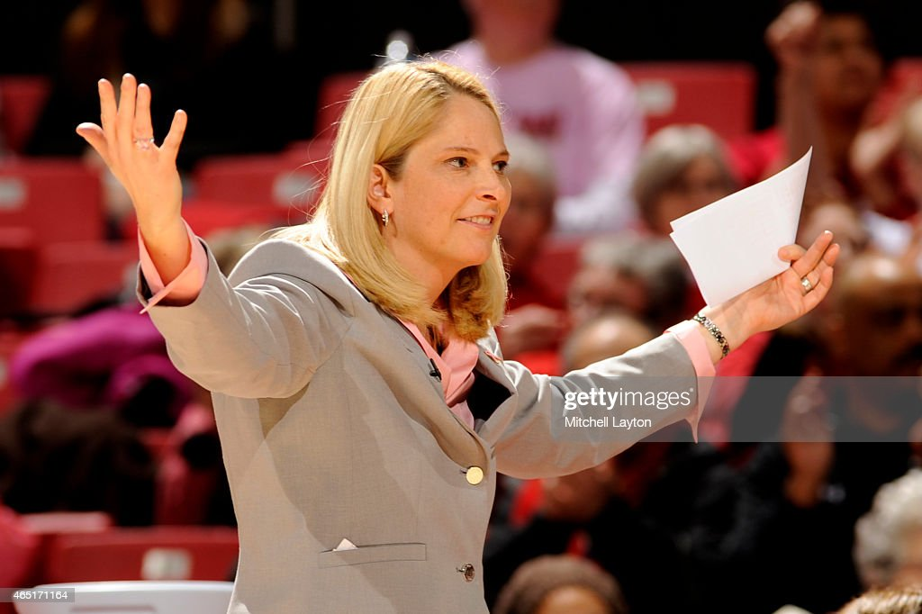 Head coach <a gi-track='captionPersonalityLinkClicked' href=/galleries/search?phrase=Brenda+Frese&family=editorial&specificpeople=700545 ng-click='$event.stopPropagation()'>Brenda Frese</a> of the Maryland Terrapins reacts to a call during a women's college basketball game against the Penn State Lady Lions at the XFinity Center on February 23, 2015 in College Park, Maryland. The Terrapins won 65-34.