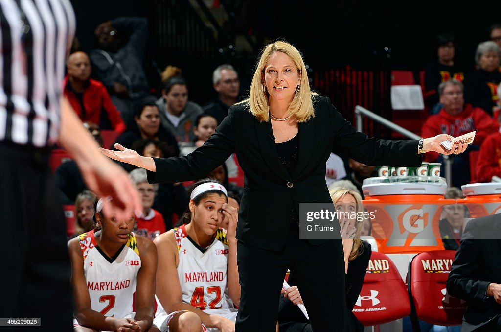 Head coach <a gi-track='captionPersonalityLinkClicked' href=/galleries/search?phrase=Brenda+Frese&family=editorial&specificpeople=700545 ng-click='$event.stopPropagation()'>Brenda Frese</a> of the Maryland Terrapins reacts to a call during the game against the Indiana Hoosiers at the Xfinity Center on February 26, 2015 in College Park, Maryland.