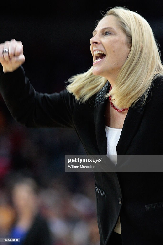 Head coach <a gi-track='captionPersonalityLinkClicked' href=/galleries/search?phrase=Brenda+Frese&family=editorial&specificpeople=700545 ng-click='$event.stopPropagation()'>Brenda Frese</a> of the Maryland Terrapins reacts to action in the second half of the game against the Duke Blue Devils during the third round of the 2015 NCAA Division I Women's Basketball Tournament at Spokane Veterans Memorial Arena on March 28, 2015 in Spokane, Washington. Maryland defeated Duke 65-55.