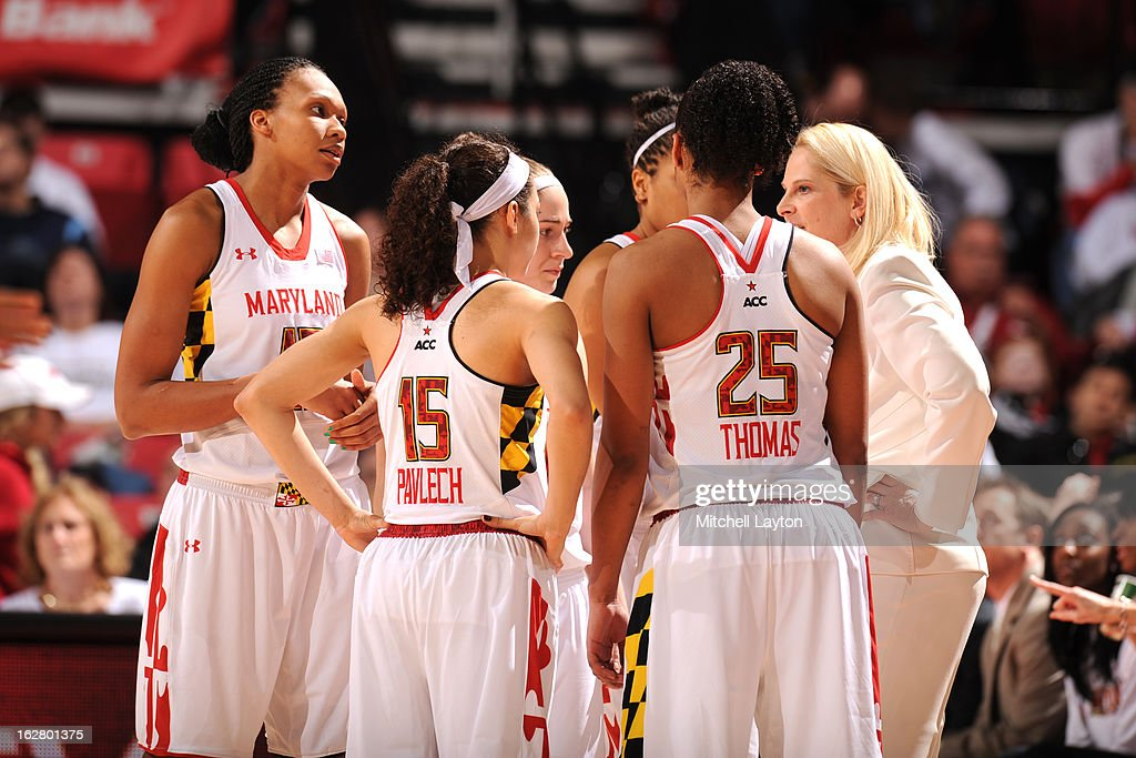 Head coach Brenda Frese of the Maryland Terrapins talks to her players during a time out of a women's college basketball game against the Duke Blue Demons on February 24, 2013 at the Comcast Center in College Park, Maryland. The Blue Demons won 75-59.
