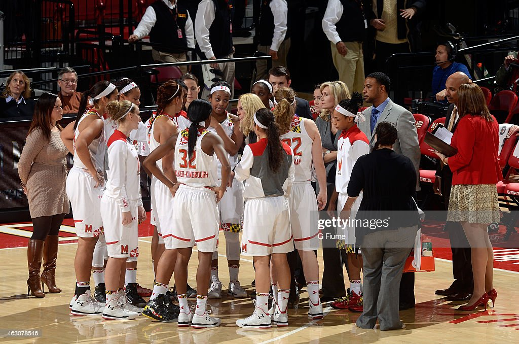Head coach <a gi-track='captionPersonalityLinkClicked' href=/galleries/search?phrase=Brenda+Frese&family=editorial&specificpeople=700545 ng-click='$event.stopPropagation()'>Brenda Frese</a> of the Maryland Terrapins talks to her team during a timeout in the game against the Purdue Boilermakers at the Xfinity Center on January 8, 2015 in College Park, Maryland.