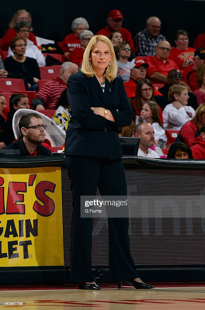 Head coach <a gi-track='captionPersonalityLinkClicked' href=/galleries/search?phrase=Brenda+Frese&family=editorial&specificpeople=700545 ng-click='$event.stopPropagation()'>Brenda Frese</a> of the Maryland Terrapins watches the game against the Nebraska Cornhuskers at the Xfinity Center on February 08, 2015 in College Park, Maryland.