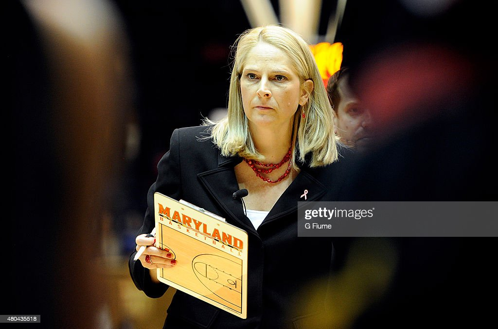 Head coach <a gi-track='captionPersonalityLinkClicked' href=/galleries/search?phrase=Brenda+Frese&family=editorial&specificpeople=700545 ng-click='$event.stopPropagation()'>Brenda Frese</a> of the Maryland Terrapins watches the game against the Duke Blue Devils at Cameron Indoor Stadium on February 17, 2014 in Durham, North Carolina.