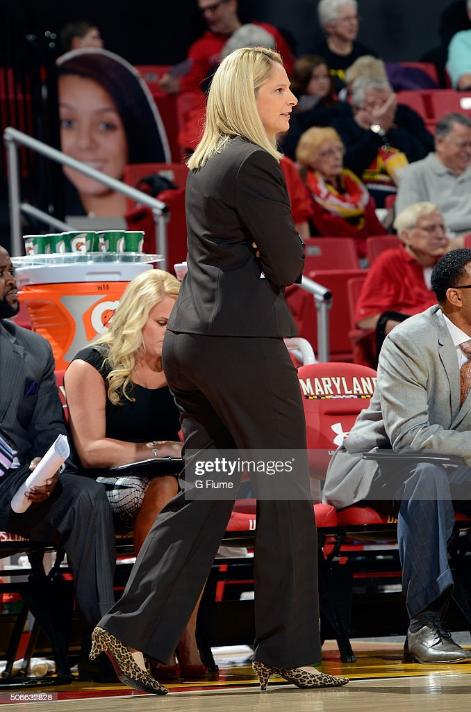 Head coach <a gi-track='captionPersonalityLinkClicked' href=/galleries/search?phrase=Brenda+Frese&family=editorial&specificpeople=700545 ng-click='$event.stopPropagation()'>Brenda Frese</a> of the Maryland Terrapins watches the game against the Nebraska Cornhuskers at the Xfinity Center on January 7, 2016 in College Park, Maryland.