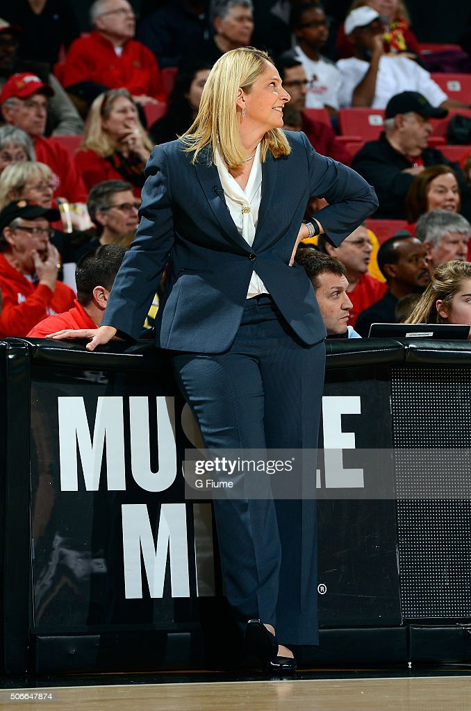 Head coach <a gi-track='captionPersonalityLinkClicked' href=/galleries/search?phrase=Brenda+Frese&family=editorial&specificpeople=700545 ng-click='$event.stopPropagation()'>Brenda Frese</a> of the Maryland Terrapins watches the game against the Northwestern Wildcats at the Xfinity Center on January 17, 2016 in College Park, Maryland.