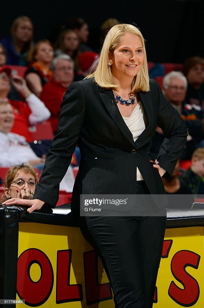 Head coach <a gi-track='captionPersonalityLinkClicked' href=/galleries/search?phrase=Brenda+Frese&family=editorial&specificpeople=700545 ng-click='$event.stopPropagation()'>Brenda Frese</a> of the Maryland Terrapins watches the game against the Michigan State Spartans at the Xfinity Center on February 05, 2016 in College Park, Maryland.