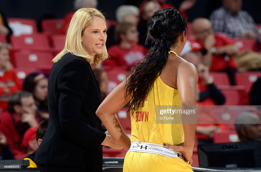 Head coach <a gi-track='captionPersonalityLinkClicked' href=/galleries/search?phrase=Brenda+Frese&family=editorial&specificpeople=700545 ng-click='$event.stopPropagation()'>Brenda Frese</a> talks to <a gi-track='captionPersonalityLinkClicked' href=/galleries/search?phrase=Lexie+Brown&family=editorial&specificpeople=10784811 ng-click='$event.stopPropagation()'>Lexie Brown</a> #4 during the game against the Rutgers Scarlet Knights at the Xfinity Center on February 10, 2015 in College Park, Maryland.