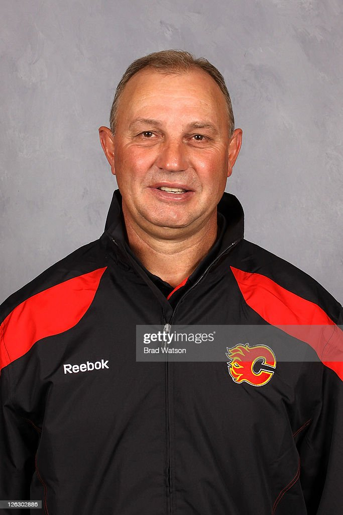 Head Coach <a gi-track='captionPersonalityLinkClicked' href=/galleries/search?phrase=Brent+Sutter&family=editorial&specificpeople=1045160 ng-click='$event.stopPropagation()'>Brent Sutter</a> of the Calgary Flames poses for his official headshot for the 2011-2012 season on September 17, 2011 at the Scotiabank Saddledome in Calgary, Alberta.