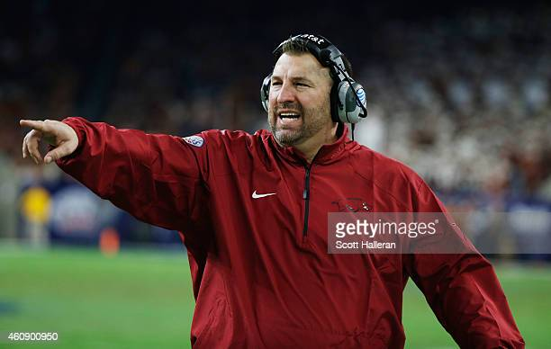 Head coach Bret Bielema of the Arkansas Razorbacks waits near the sideline during the second half of the game against the Texas Longhorns at the...
