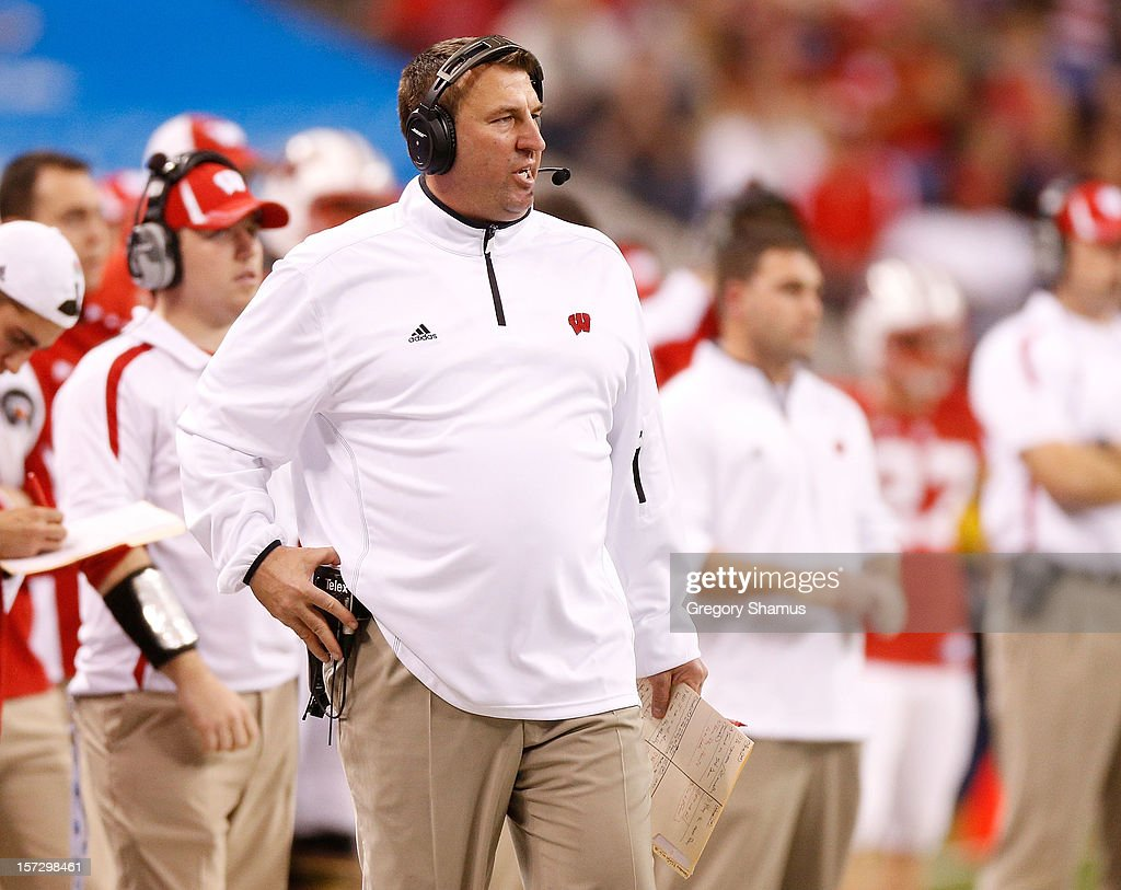 Head coach Brett Bielema of the Wisconsin Badgers looks on from the sideline while playing the Nebraska Cornhuskers in the Big 10 Conference Championship Game at Lucas Oil Stadium on December 1, 2012 in Indianapolis, Indiana.