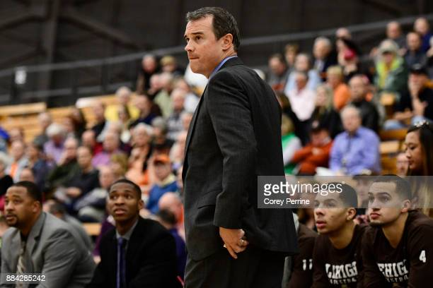 Head coach Brett Reed of the Lehigh Mountain Hawks during the first half at L Stockwell Jadwin Gymnasium on November 29 2017 in Princeton New Jersey...