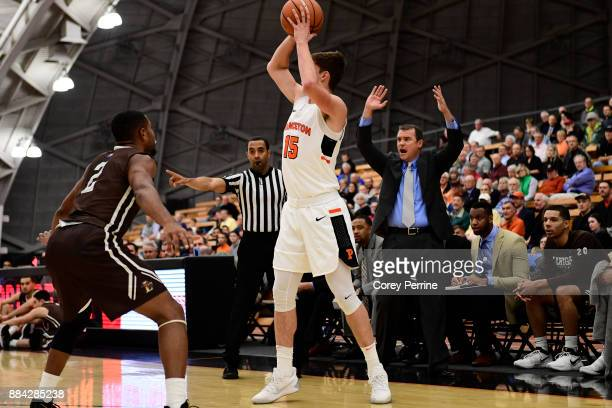 Head coach Brett Reed of the Lehigh Mountain Hawks reacts as Ryan Schwieger of the Princeton Tigers looks to pass against Kyle Leufroy of the Lehigh...