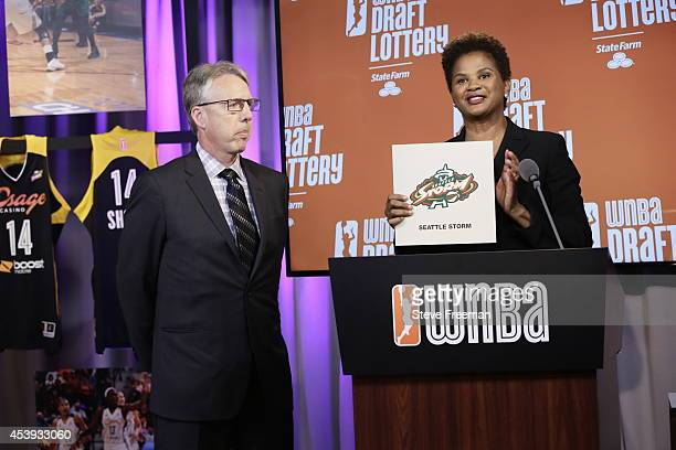 Head Coach Brian Agler of the Seattle Storm looks on as Chief of Basketball Operations and Player Relations Renee Brown of the WNBA announces the...