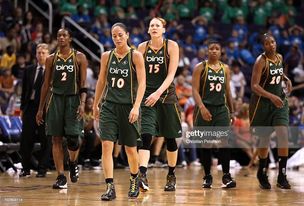 Head coach Brian Agler, Swin Cash #2, Sue Bird #10, Lauren Jackson #15, Tanisha Wright #30 and Camille Little #20 of the Seattle Storm walk down court during the WNBA game against the Phoenix Mercury at US Airways Center on July 14, 2010 in Phoenix, Arizona. The Storm defeated the Mercury 111-107 in triple overtime.