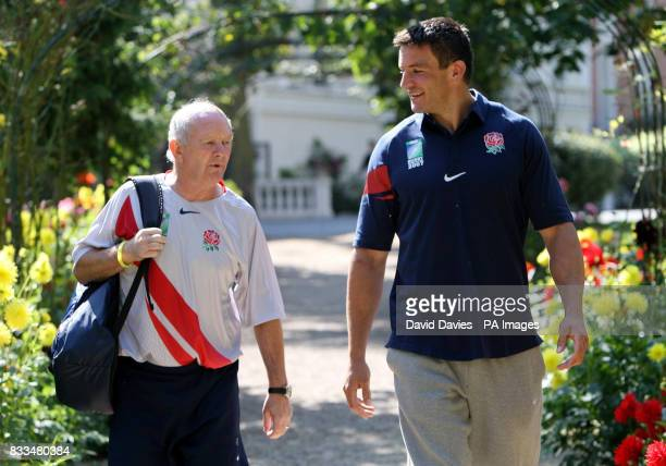 Head coach Brian Ashton and captain Martin Corry take a walk through the gardens at the team hotel in Versailles France
