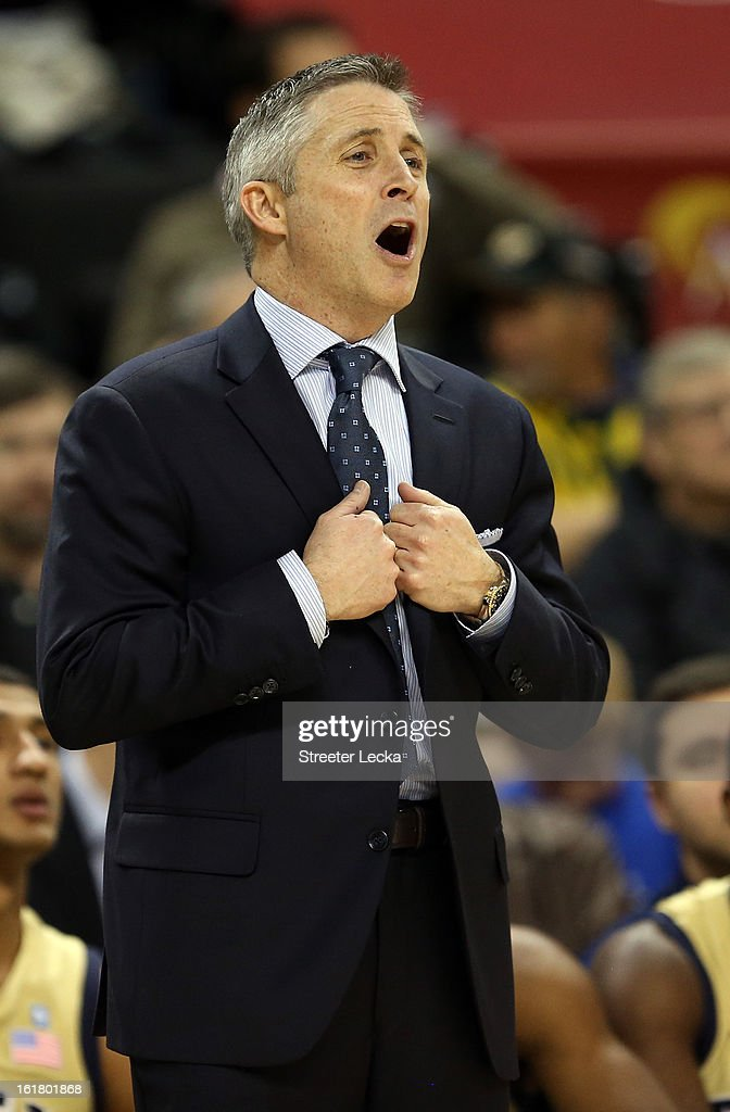 Head coach Brian Gregory of the Georgia Tech Yellow Jackets reacts to a call during their game against the Wake Forest Demon Deacons at Lawrence Joel Coliseum on February 16, 2013 in Winston-Salem, North Carolina.