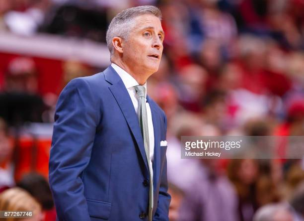 Head coach Brian Gregory of the South Florida Bulls is seen during the game against the Indiana Hoosiers at Assembly Hall on November 19 2017 in...