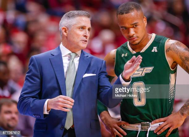 Head coach Brian Gregory talks to Stephan Jiggetts of the South Florida Bulls during the game against the Indiana Hoosiers at Assembly Hall on...