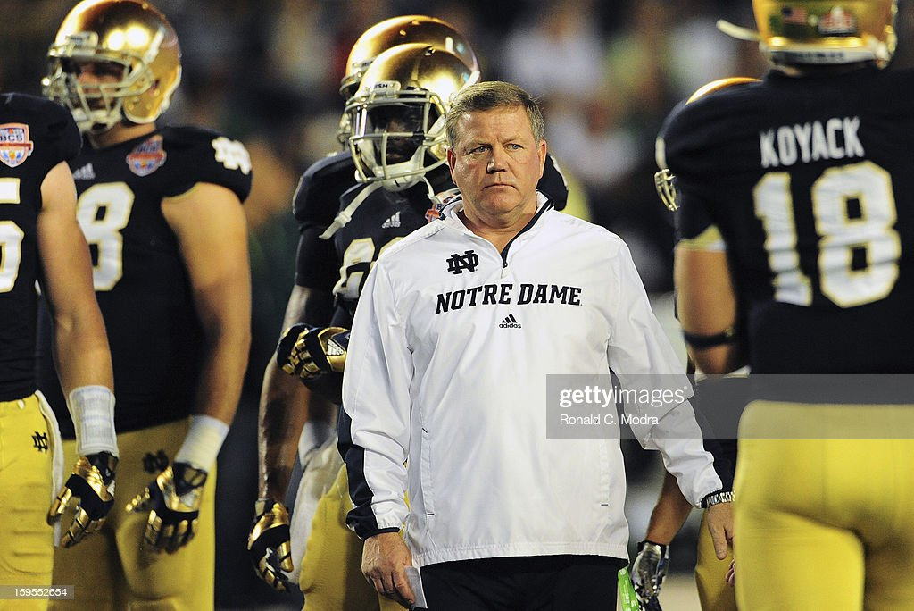 Head coach Brian Kelly of the Notre Dame Fighting Irish looks on before the game against the Alabama Crimson Tide during the 2013 Discover BCS National Championship Game at Sun Life Stadium on January 7, 2013 in Miami Gardens, Florida.