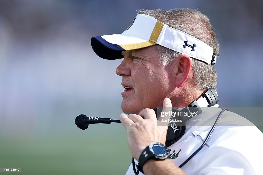 Head coach <a gi-track='captionPersonalityLinkClicked' href=/galleries/search?phrase=Brian+Kelly+-+Entra%C3%AEneur+de+football+am%C3%A9ricain&family=editorial&specificpeople=11611987 ng-click='$event.stopPropagation()'>Brian Kelly</a> of the Notre Dame Fighting Irish looks on against the Georgia Tech Yellow Jackets in the second quarter at Notre Dame Stadium on September 19, 2015 in South Bend, Indiana. Notre Dame defeated Georgia Tech 30-22.