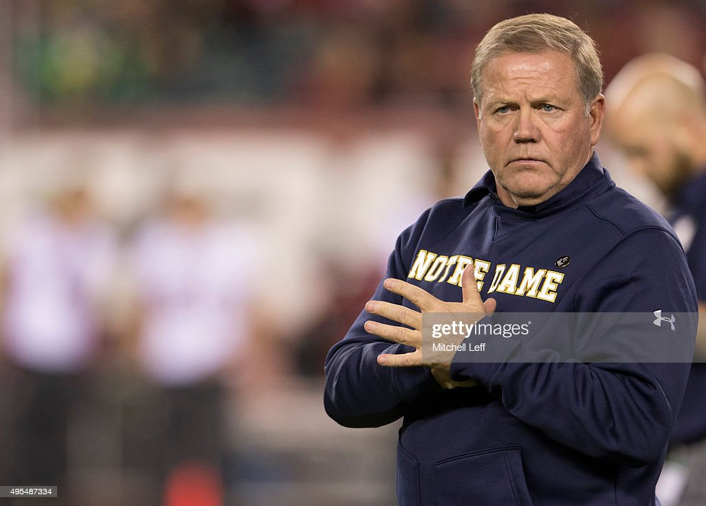 Head coach Brian Kelly of the Notre Dame Fighting Irish looks on prior to the game against the Temple Owls on October 31, 2015 at Lincoln Financial Field in Philadelphia, Pennsylvania.