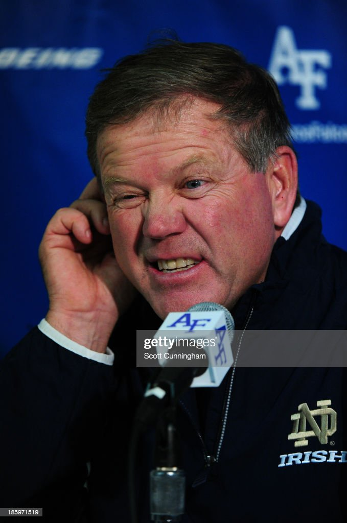 Head Coach Brian Kelly of the Notre Dame Fighting Irish speaks with the media after the game against the Air Force Falcons at Falcon Stadium on October 26, 2013 in Colorado Springs, Colorado.