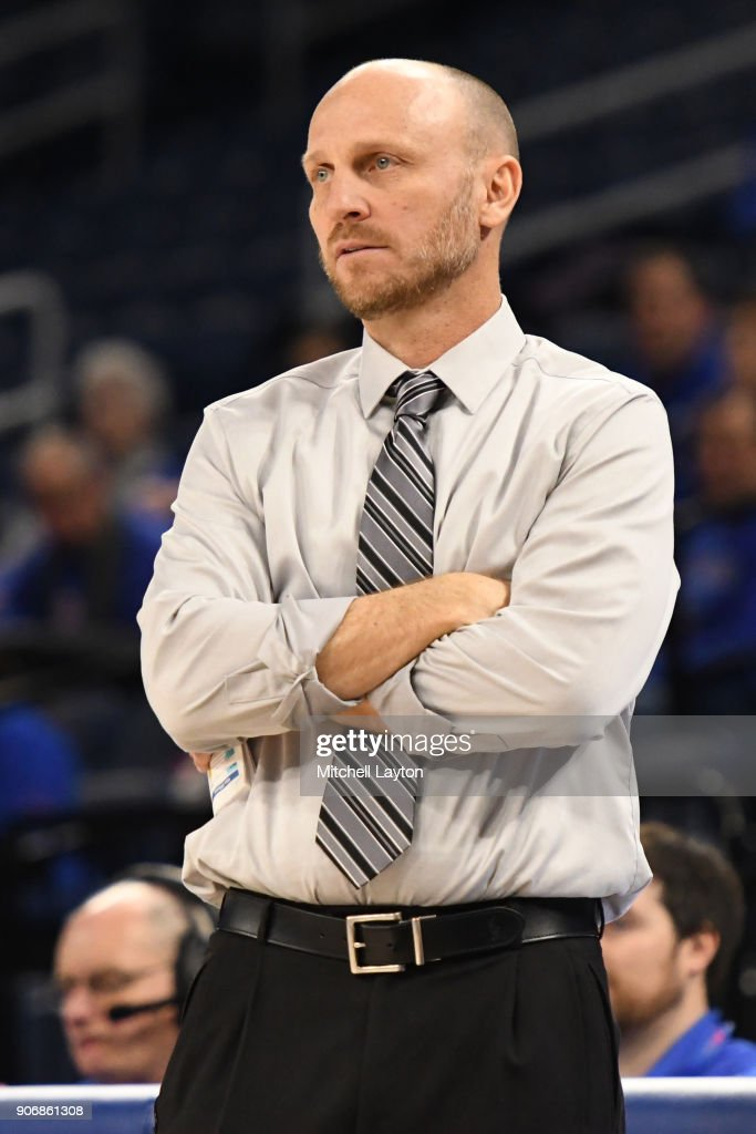 Head coach Brian Neal of the Xavier Musketeers looks on during a women's college basketball game against the DePaul Blue Demons at Wintrust Arena on January 12, 2018 in Chicago, Illinois. The Blue Demons won 79-48.
