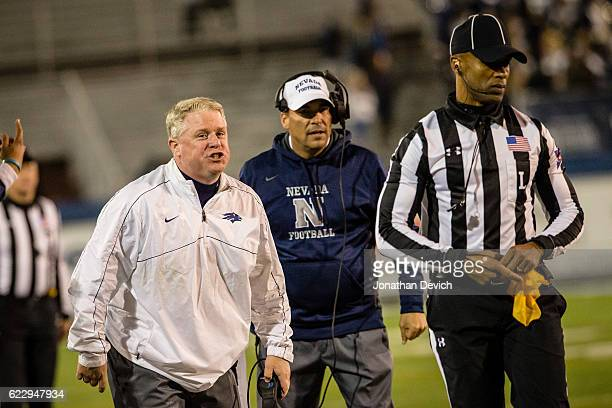 Head coach Brian Polian yells at an official after a call in the game against San Diego at Mackay Stadium on November 12 2016 in Reno Nevada