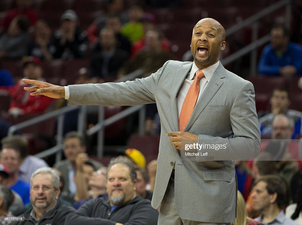 Head coach <a gi-track='captionPersonalityLinkClicked' href=/galleries/search?phrase=Brian+Shaw+-+Basketball+Coach&family=editorial&specificpeople=11376247 ng-click='$event.stopPropagation()'>Brian Shaw</a> of the Denver Nuggets calls out a play during the game against the Philadelphia 76ers on February 3, 2015 at the Wells Fargo Center in Philadelphia, Pennsylvania. The 76ers defeated the Nuggets 105-98