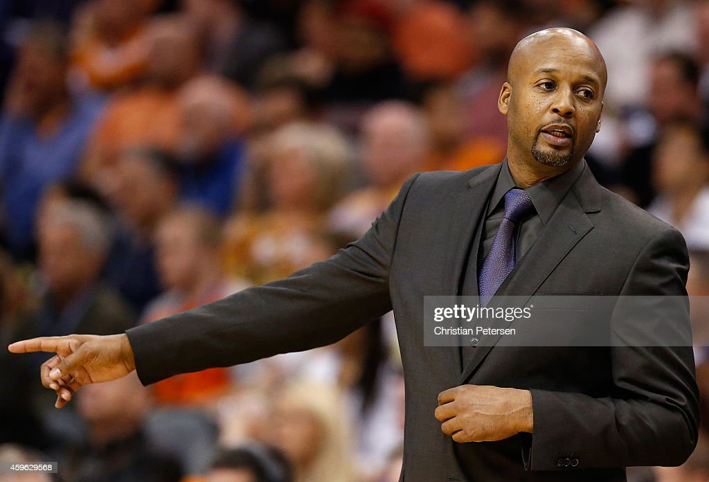 Head coach Brian Shaw of the Denver Nuggets directs his team during the NBA game against the Phoenix Suns at US Airways Center on November 26 2014 in...