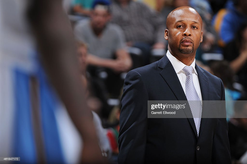 Head coach, <a gi-track='captionPersonalityLinkClicked' href=/galleries/search?phrase=Brian+Shaw+-+Basketball+Coach&family=editorial&specificpeople=11376247 ng-click='$event.stopPropagation()'>Brian Shaw</a> of the Denver Nuggets during the game against the Dallas Mavericks on January 14, 2015 at Pepsi Center in Denver, Colorado .