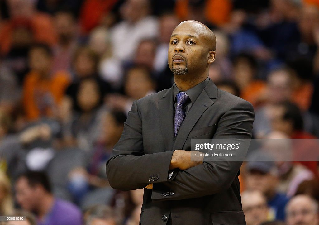 Head coach <a gi-track='captionPersonalityLinkClicked' href=/galleries/search?phrase=Brian+Shaw+-+Basketball+Coach&family=editorial&specificpeople=11376247 ng-click='$event.stopPropagation()'>Brian Shaw</a> of the Denver Nuggets during the NBA game against the Phoenix Suns at US Airways Center on November 26, 2014 in Phoenix, Arizona. The Suns defeated the Nuggets 120-112.