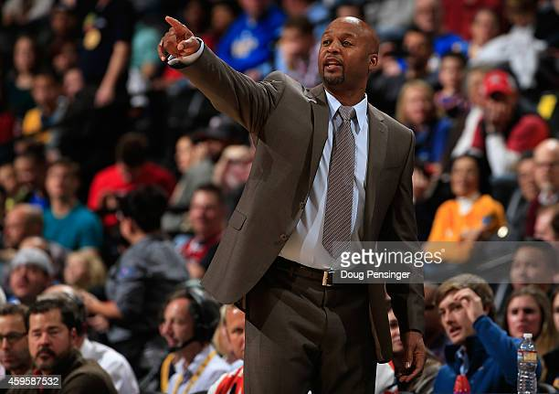 Head coach Brian Shaw of the Denver Nuggets leads his team against the Chicago Bulls at Pepsi Center on November 25 2014 in Denver Colorado NOTE TO...