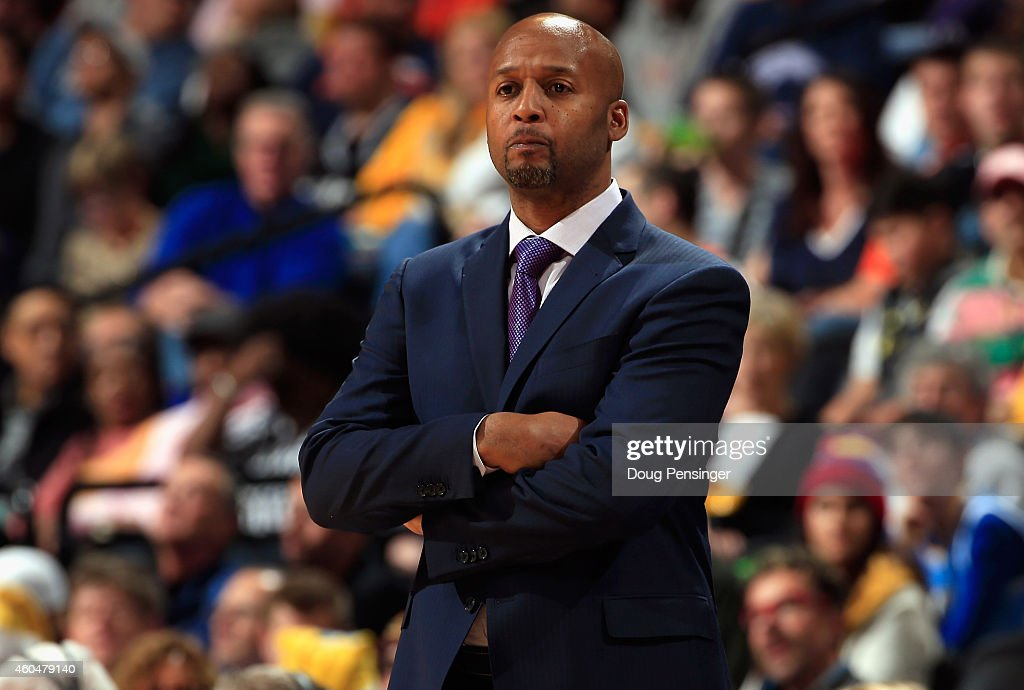 Head coach <a gi-track='captionPersonalityLinkClicked' href=/galleries/search?phrase=Brian+Shaw+-+Basketball+Coach&family=editorial&specificpeople=11376247 ng-click='$event.stopPropagation()'>Brian Shaw</a> of the Denver Nuggets leads his team against the San Antonio Spurs at Pepsi Center on December 14, 2014 in Denver, Colorado. The Spurs defeated the Nuggets 99-91.