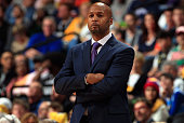 Head coach Brian Shaw of the Denver Nuggets leads his team against the San Antonio Spurs at Pepsi Center on December 14 2014 in Denver Colorado The...