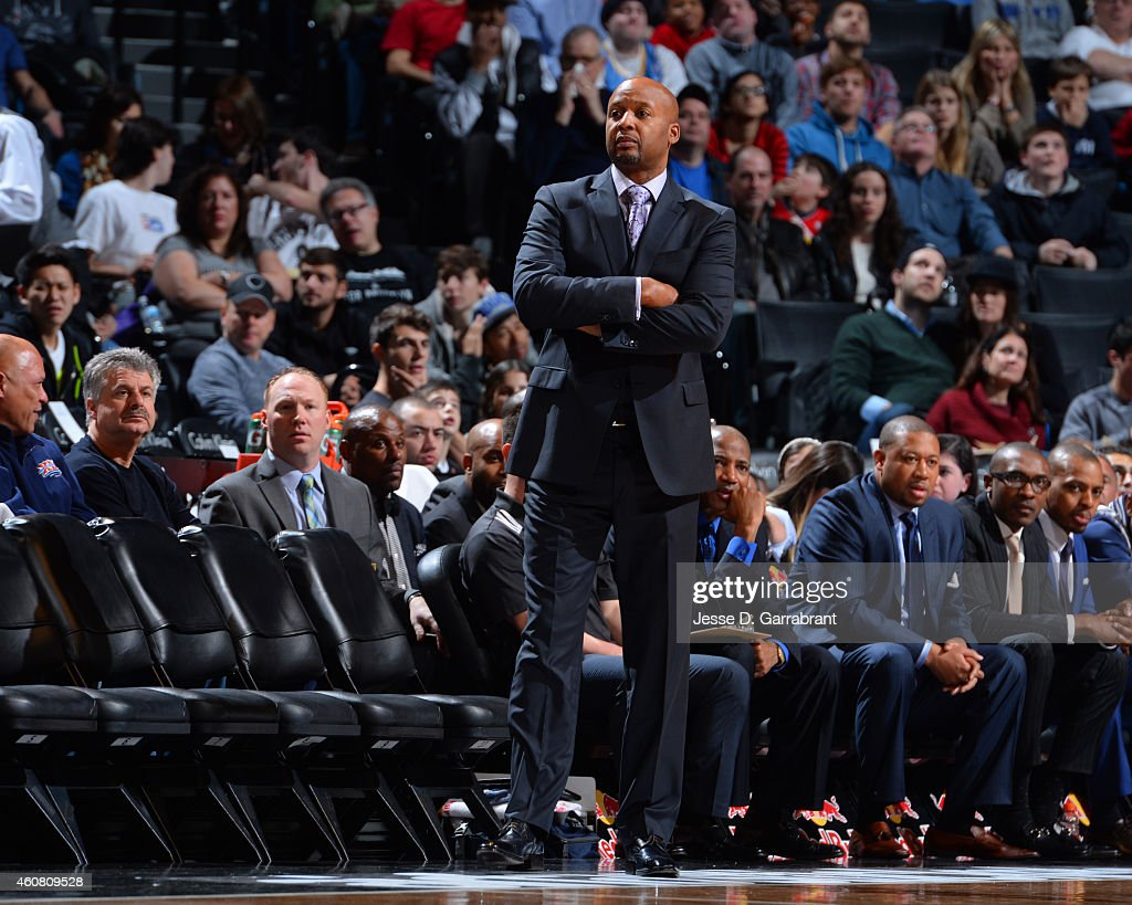 Head Coach Brian Shaw of the Denver Nuggets looks on against the Brooklyn Nets on December 23 2014 at the Barclays Center in Brooklyn NY NOTE TO USER...