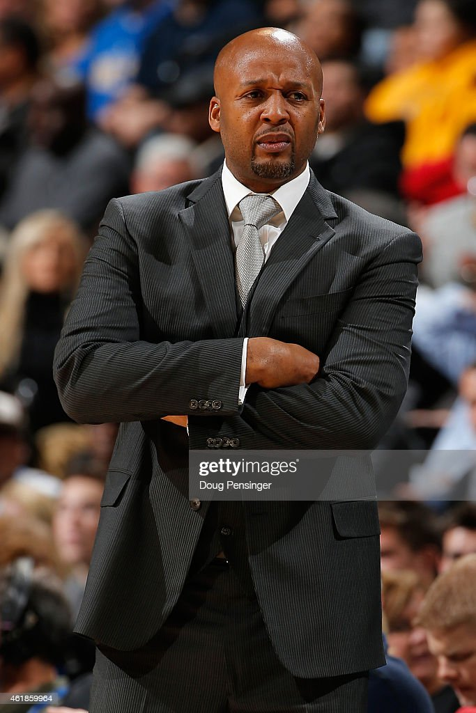 Head coach <a gi-track='captionPersonalityLinkClicked' href=/galleries/search?phrase=Brian+Shaw+-+Basketball+Coach&family=editorial&specificpeople=11376247 ng-click='$event.stopPropagation()'>Brian Shaw</a> of the Denver Nuggets looks on as he leads his team against the San Antonio Spurs at Pepsi Center on January 20, 2015 in Denver, Colorado. The Spurs defeated the Nuggets 109-99.
