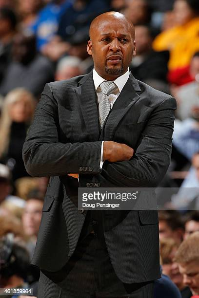 Head coach Brian Shaw of the Denver Nuggets looks on as he leads his team against the San Antonio Spurs at Pepsi Center on January 20 2015 in Denver...