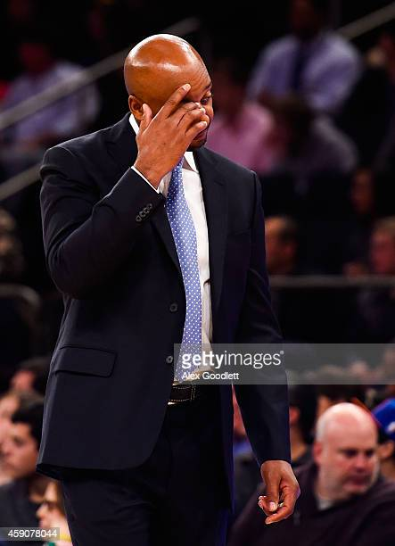 Head coach Brian Shaw of the Denver Nuggets looks on during a game against the New York Knicks at Madison Square Garden on November 16 2014 in New...