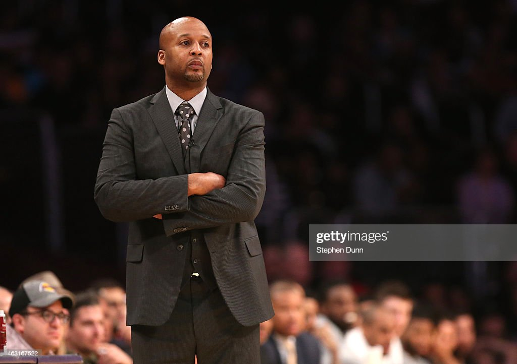 Head coach Brian Shaw of the Denver Nuggets looks on during the game with the Los Angeles Lakers at Staples Center on February 10 2015 in Los Angeles...