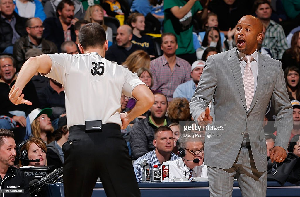 Head coach Brian Shaw of the Denver Nuggets protests a call by referee Kane Fitzgerald as they face the Boston Celtics at Pepsi Center on January 23...