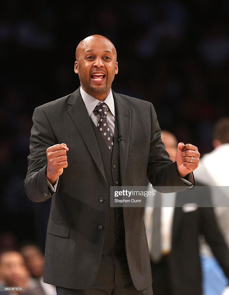 Head coach Brian Shaw of the Denver Nuggets shouts during the game with the Los Angeles Lakers at Staples Center on February 10 2015 in Los Angeles...