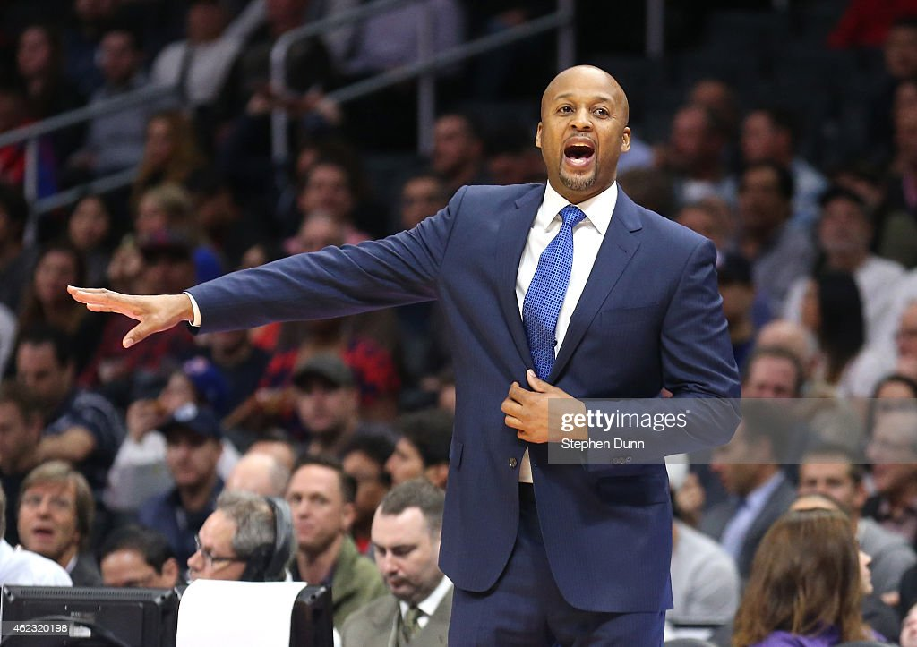 Head coach Brian Shaw of the Denver Nuggets shouts instructions in the game against the Los Angeles Clippers at Staples Center on January 26 2015 in...