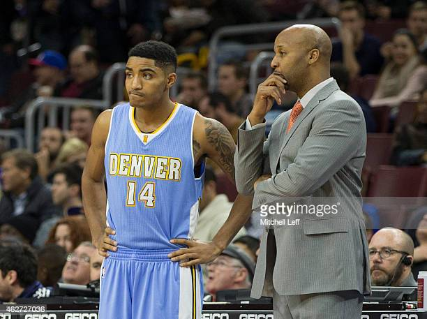 Head coach Brian Shaw of the Denver Nuggets talks to Gary Harris during the game against the Philadelphia 76ers on February 3 2015 at the Wells Fargo...