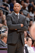Head coach Brian Shaw of the Denver Nuggets during the game against the Los Angeles Lakers on February 10 2015 at STAPLES Center in Los Angeles...